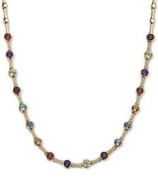 "EFFY® Multi-Gemstone (6 ct. t.w.) & Diamond (1/4 ct. t.w.) 18"" Statement Necklace in 14k Gold"