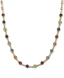 "EFFY® Multi-Gemstone (6 ct. t.w.) & Diamond (1/4 ct. t.w.) 18"" Statement Necklace in 14k Gold"