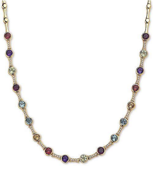 "EFFY Collection EFFY® Multi-Gemstone (6 ct. t.w.) & Diamond (1/4 ct. t.w.) 18"" Statement Necklace in 14k Gold"