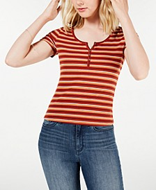 Juniors' Rib-Knit Henley Top