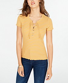 Juniors' Lace-Up Rib-Knit Top