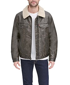 Men's Faux-Leather Trucker Jacket