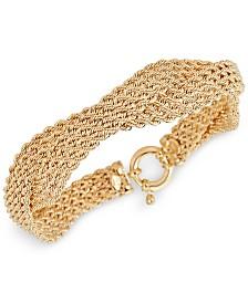 Italian Gold Twisted Multi-Row Rope Bracelet in 14k Gold