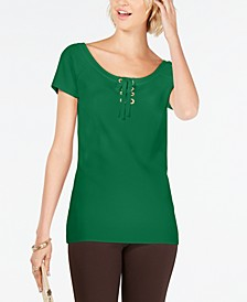 INC Solid Lace-Up Top, Created for Macy's