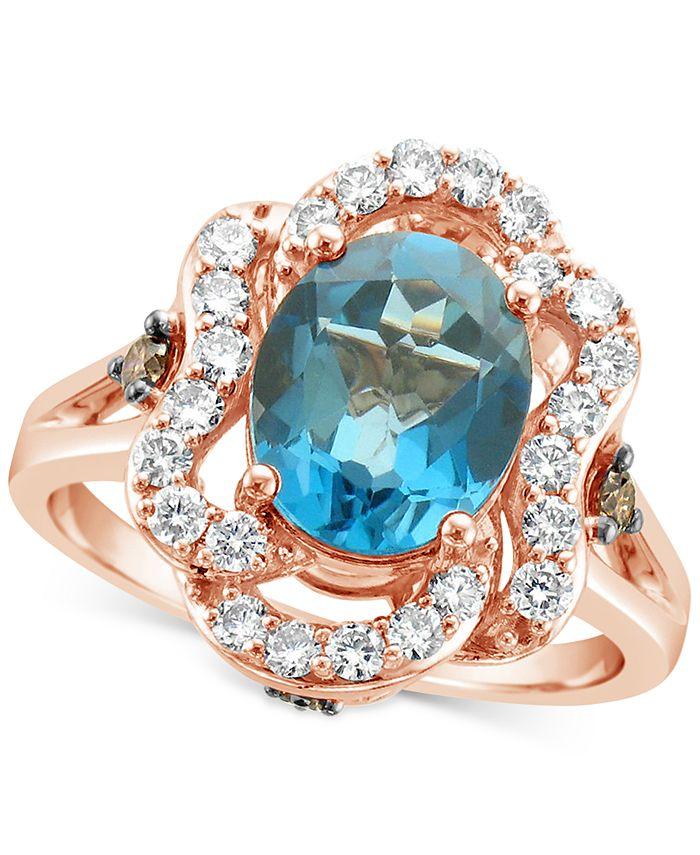 Le Vian - Deep Sea Blue Topaz (2-7/8 ct. t.w.) & Diamond (5/8 ct.t.w.) Ring in 14k Rose Gold