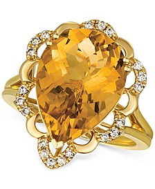 Cinnamon Citrine (6-1/4 ct. t.w.) & Nude Diamonds (1/5 ct. t.w.) Statement Ring in 14k Gold