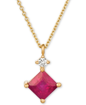 """Ruby (5/8 ct. t.w.) and Diamond Accent 16"""" Pendant Necklace in 14k White Gold"""