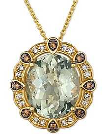 "Mint Julep Quartz (4 ct. t.w.) & Diamonds (1/5 ct. t.w.) 20"" Pendant Necklace in 14k Gold"