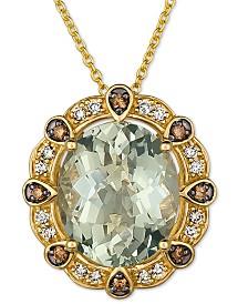 """Le Vian® Mint Julep Quartz (4 ct. t.w.) & Diamonds (1/5 ct. t.w.) 20"""" Pendant Necklace in 14k Gold"""
