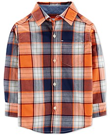 Toddler Boys Plaid Button-Front Cotton Shirt