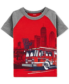 Toddler Boys Firetruck-Print Cotton T-Shirt