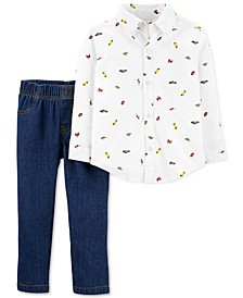 Toddler Boys 2-Pc. Cotton Schiffli Shirt & Jeans Set