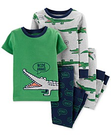 Baby Boys 4-Pc. Gator-Print Cotton Pajamas Set