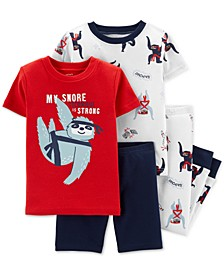 Toddler Boys 4-Pc. Cotton Snore Technique Sloth Pajama Set
