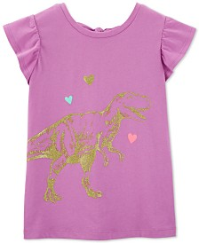 Carter's Little & Big Girls Bow-Back Dinosaur-Print Cotton T-Shirt