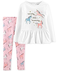 Toddler Girls 2-Pc. Unicorn Top & Leggings Set