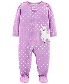 Baby Girls 1-Pc. Llamacorn Heart-Print Footed Pajamas