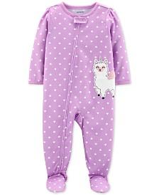 Carter's Baby Girls 1-Pc. Llamacorn Heart-Print Footed Pajamas