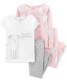Toddler Girls 4-Pc. Cotton Fur-Ever Dreaming Dog Pajama Set