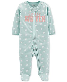 Baby Girls Little Sister Fleece Footed Coverall