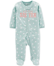 Carter's Baby Girls Little Sister Fleece Footed Coverall