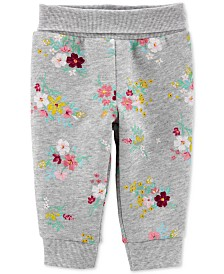 Carter's Baby Girls Floral-Print Pull-On Fleece Pants