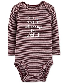 Baby Boys Striped Smile Cotton Bodysuit