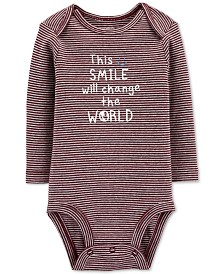 Carter's Baby Boys Striped Smile Cotton Bodysuit