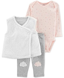 Baby Girls 3-Pc. Faux-Fur Vest, Floral-Print Bodysuit & Pants Set