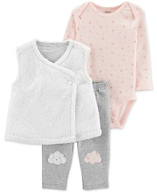 Carter's Baby Girls 3-Pc. Faux-Fur Vest, Floral-Print Bodysuit & Pants Set