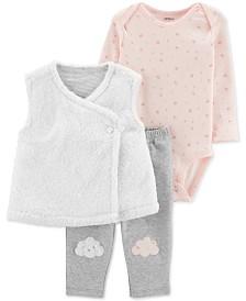 Carter's Baby Girls 3-Pc. Faux-Fur Vest, Floral-Print Bodysuit & Pants Set