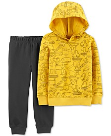 Carter's Toddler Boys 2-Pc. Cotton Construction-Print Hoodie & Jogger Pants Set
