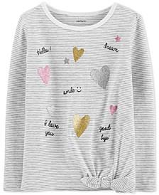 Toddler Girls Striped Tie-Front Cotton T-Shirt
