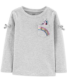 Toddler Girls Cotton Unicorn Sequin Pocket T-Shirt