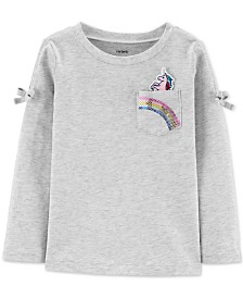 Carter's Toddler Girls Cotton Unicorn Sequin Pocket T-Shirt