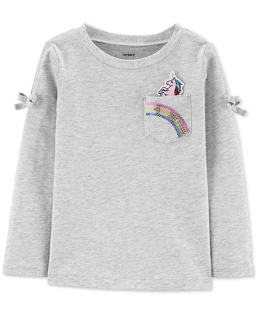 Carter's Toddler Girls Cotton Unicorn Sequin Pocket T-Shirt