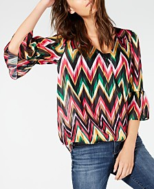 I.N.C. Petite Zigzag-Print Bell-Sleeve Top, Created for Macy's