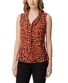 Petite Cheetah-Print Sailor Top
