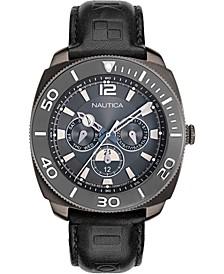 Men's NAPBHS903 Bal Harbour Black/Gunmetal Leather Strap Watch
