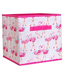 Kids Collapsible Storage Cube in Pretty Flamingo
