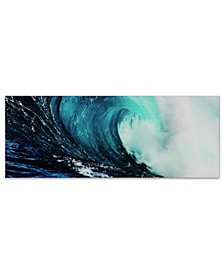 "'Blue Wave 2' Frameless Free Floating Tempered Glass Panel Graphic Wall Art - 24"" x 63''"