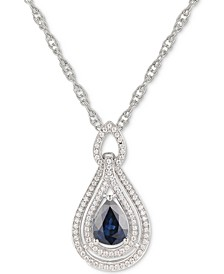 "Certified Ruby (1-1/4 ct. t.w) or Sapphire (1-1/4 ct. t.w.) or Tanzanite (1 ct. t.w.) or Emerald (1 ct. t.w.) & Diamond (1/4 ct. t.w.) 18"" Pendant Necklace in 14k Rose Gold or 14k White Gold or 14k Gold"