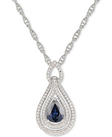 """Certified Ruby 1-1/4 ct. t.w. & Diamond (1/4 ct. t.w.) 18"""" Pendant Necklace in 14k Rose Gold (Also available in Emerald, Sapphire and Tanzanite)"""