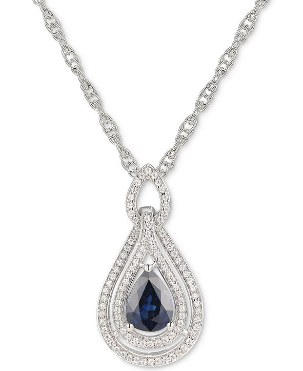 """Macy's Sapphire (1-1/4 ct. t.w.) & Diamond (1/4 ct. t.w.) 18"""" Pendant Necklace in 14k Rose Gold (Also available in Emerald, Certified Ruby and Tanzanite)"""
