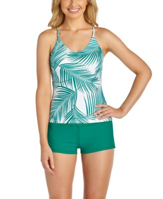 Juniors' Palm Bay Printed Macrame-Back Tankini Top