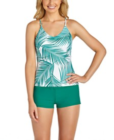 Raisins Juniors' Palm Bay Printed Macrame-Back Tankini Top & Samba Solids Surf Short Bottoms