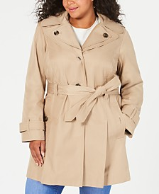 London Fog Plus Size Hooded Belted Raincoat