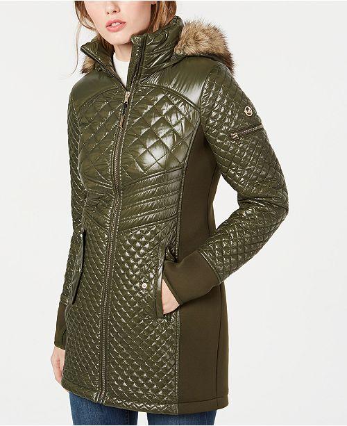 Michael Kors Hooded Faux-Fur-Trim Puffer Coat