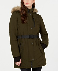 Michael Michael Kors Active Belted Hooded Faux-Fur-Trim Puffer Coat