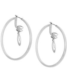 """GUESS Large Gold-Tone Crystal Drop Hoop Earrings 2-3/8"""""""